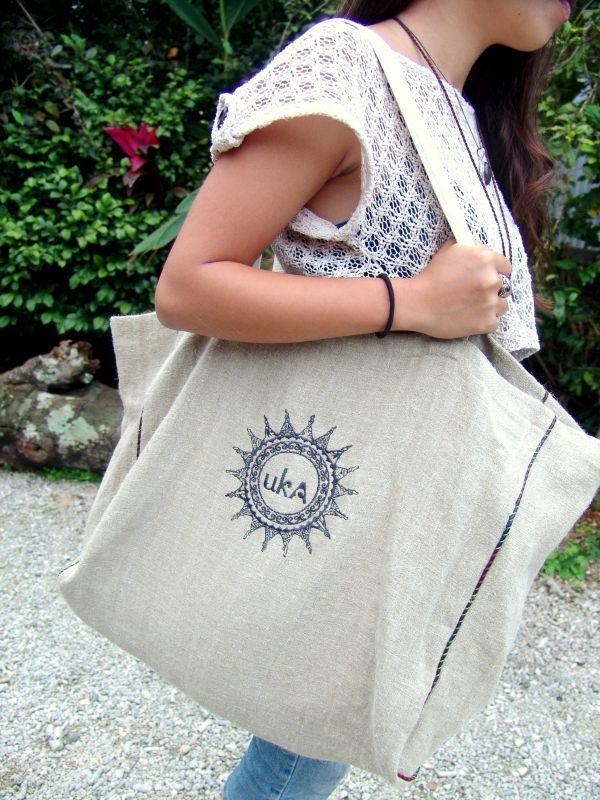 画像1: Light Blueラスト! Sale 30% OFF!! ukA オリジナル 大容量 Eco bag 6パターン (1)