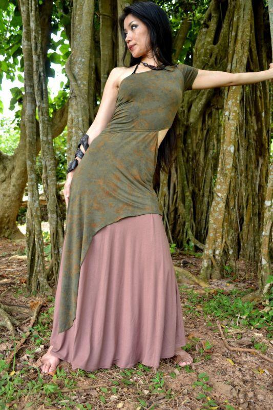 画像1: *Mサイズラスト1枚!Sale 20% OFF!! Bamboo sexy Tokage ワンピース 2サイズ HIKARI GREEN (1)