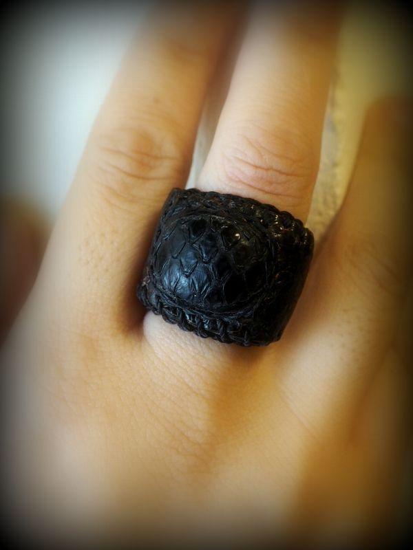 画像1: Sale 30%OFF!!  natural spirit パッチワーク Leather Ring (ユニセックス) (1)
