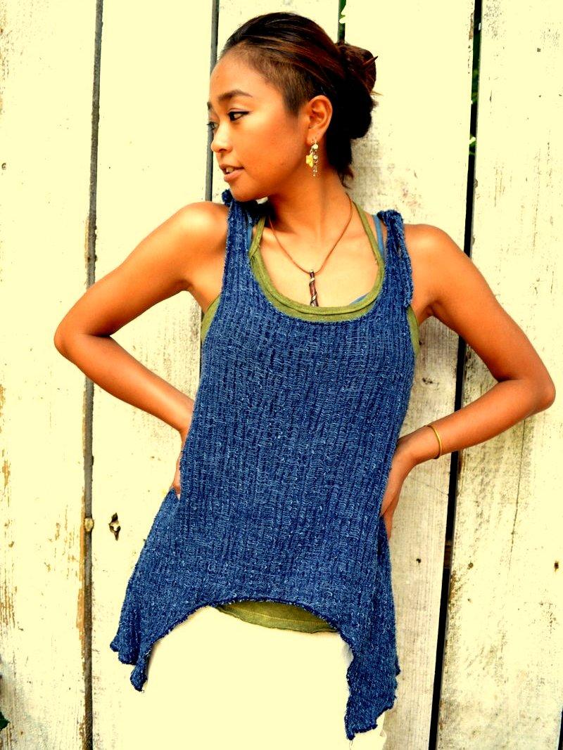 画像1: Indigoラスト!*Sale 30% OFF!! ukA earth Fuwa Fuwa cotton tops (1)