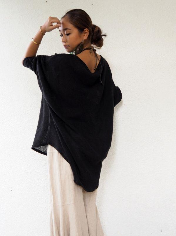 画像1: Blkのみ!*再入荷!raw silk Bat tops 2colors The White Raven (1)