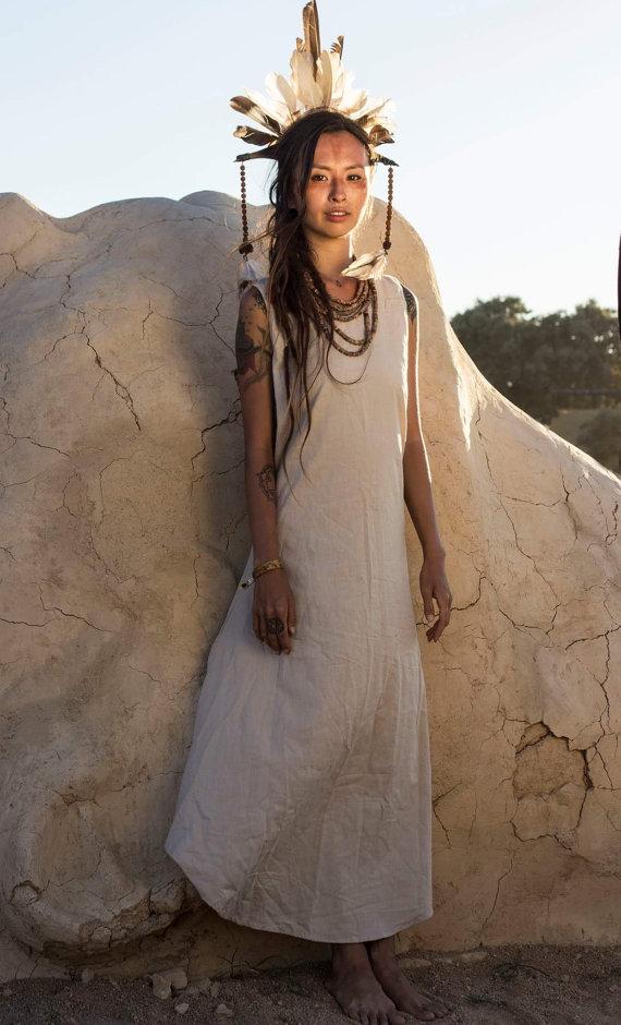 画像5: Sale 10% OFF!! Linen dress - natural color- primitive tribal craft~ (5)