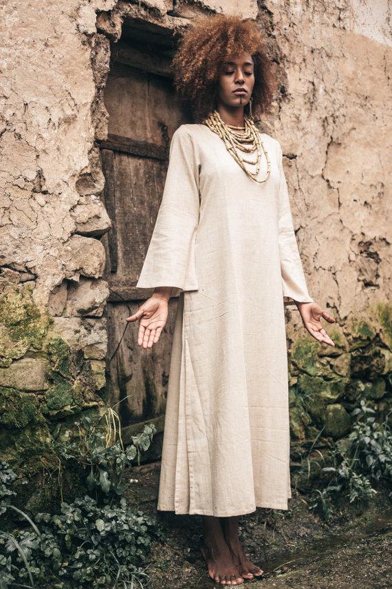 画像1: Sale 10% OFF!! Organic Cotton Long Sleeve Dress ★Primitive traibal craft★ (1)