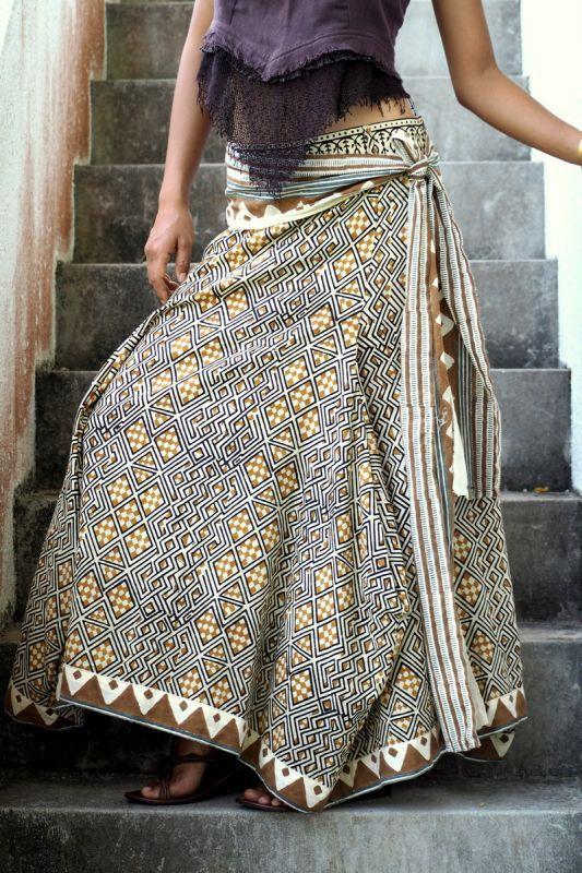 画像1: *Sale 10% OFF!! block print Long skirt 4 patterns  The White Revan (1)