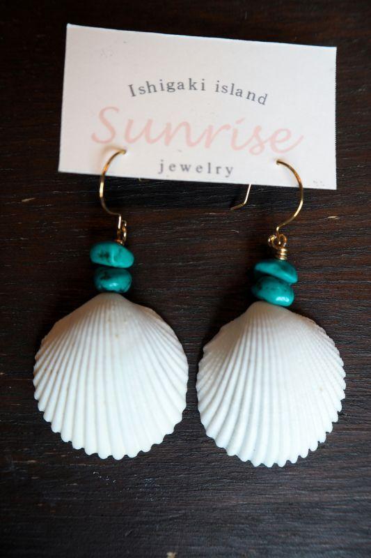 画像1: Sale 10%OFF! isigaki shell ピアス  SUNRISE Jewelry (1)