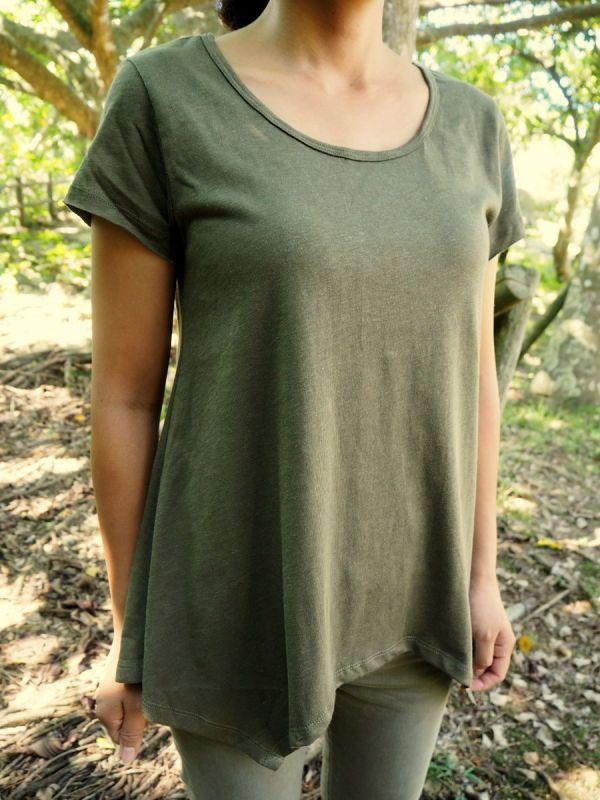 画像1: **からし色のみ!ボタニカル染めも入荷!Organic Cotton x Hemp アシンメトリーTシャツ 4colors -ukA original- (1)