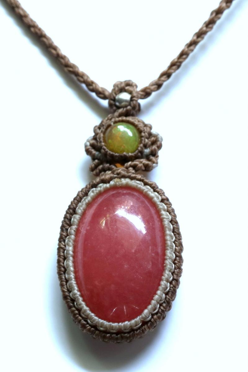 画像1: Sale 30% OFF!! ロードクロサイトとオパールのネックレス Liber minerals (1)