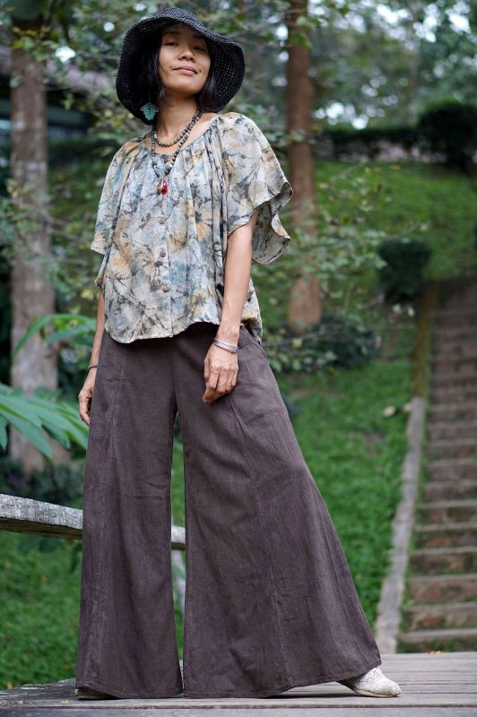 画像1: Sale 10% OFF!! ラスト1!黒檀種染め コットン loose boho pants ukA earthセレクト ♪ (1)