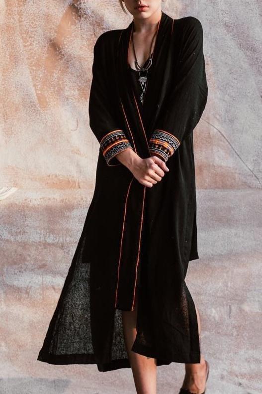 画像1: ブラックラスト1!*Raw silk embroidery Cheyenne coat  2カラー The White raven (1)