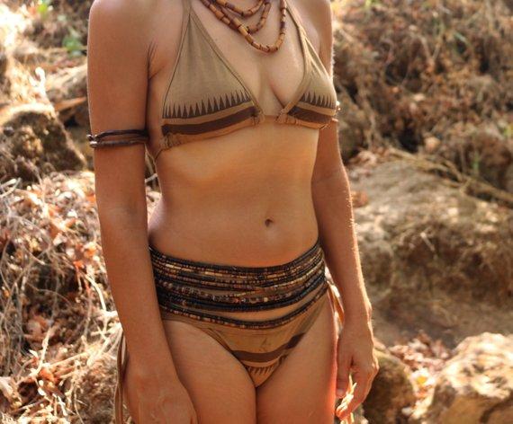 画像1: Sale 20% OFF!! 下着にも最適!organic cotton bikini set 2サイズ Primitive tribal craft♪ (1)