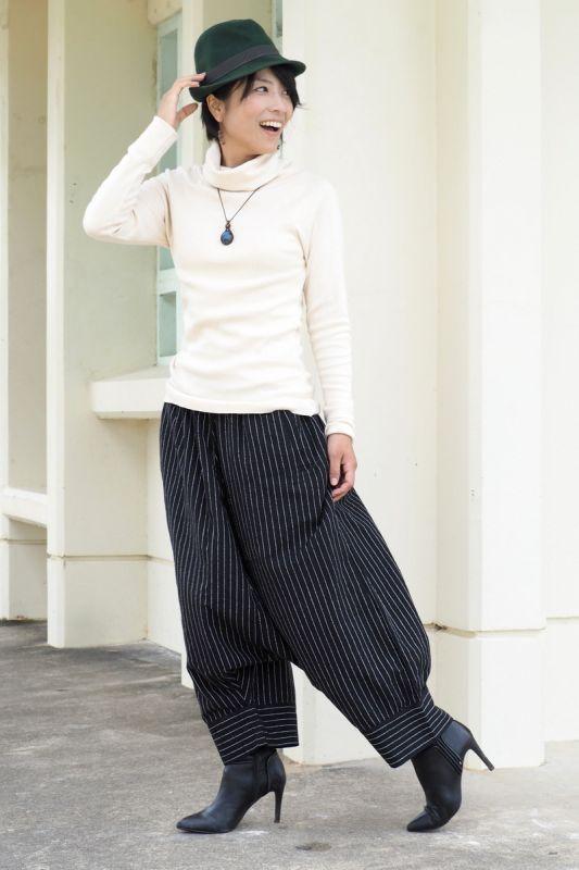 画像1: *ラスト1!Sale 30%  OFF!! 手紡ぎオーガニックコットン stripe Blk Pants ユニセックス Lazy naka (1)