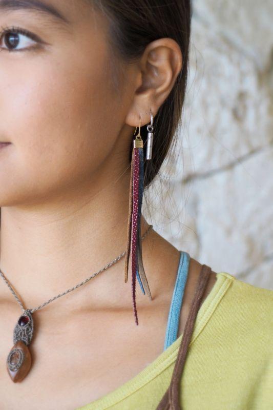 画像1: Aデザインのみ!Leather フリンジピアス SUNRISE jewelry (1)