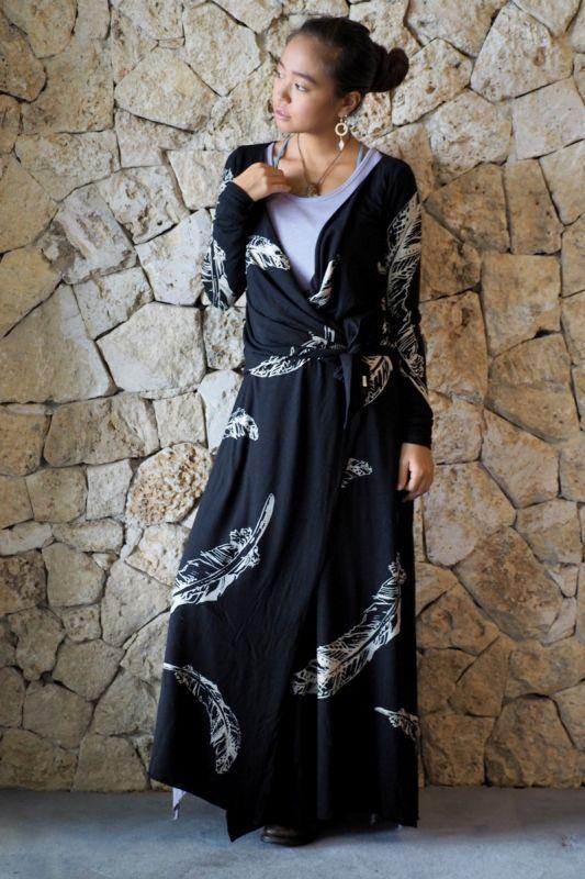 画像1: XSラスト1!Sale 30%OFF! Organic bamboo Feather Print Robe 2 sizes  ☆Sea of Wolves☆ (1)
