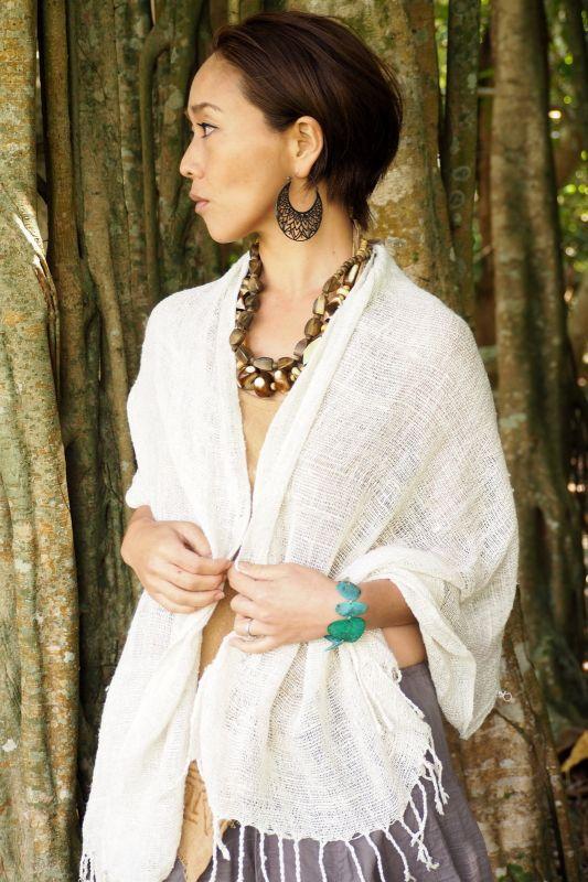画像1: 手織りRaw Silk ストール ukA earth (1)