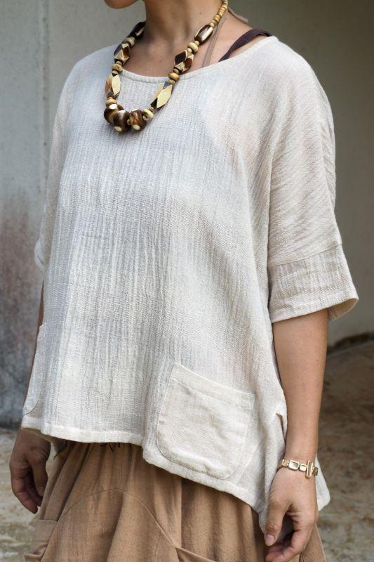 画像1: Sale 20% OFF!! 手織りコットンデザインカットソー ukA (1)