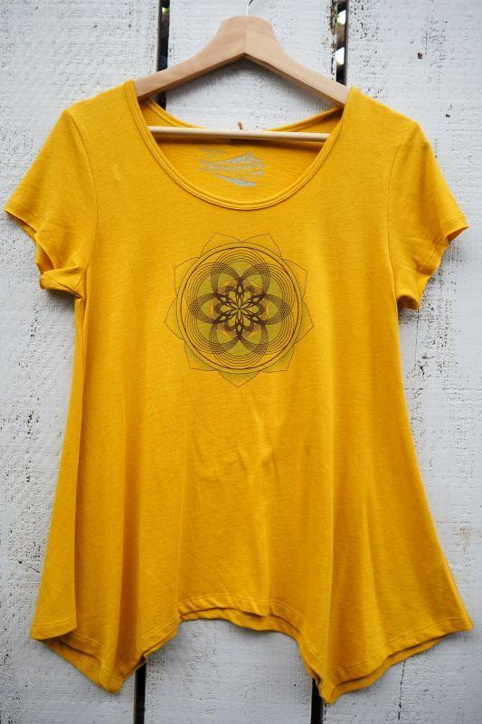 画像1: Sale 10% OFF!! Mimosa×チョコレートブラウン ラスト1!W cutting Tee幾何学模様フラワー  Maccho akashic × ukA♪ (1)
