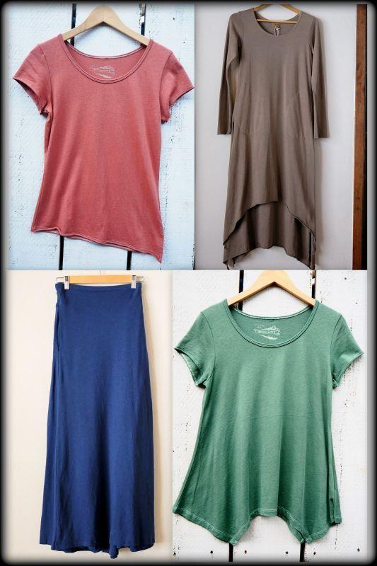 画像1: 春カラー♪エコ染めシリーズ organic cotton x Hemp Tシャツ ワンピ ラップスカート (1)