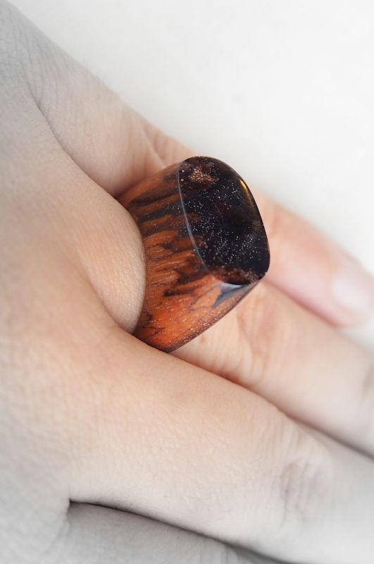 画像1: *Wood Blue resin ring  natural spirits 凜 (1)