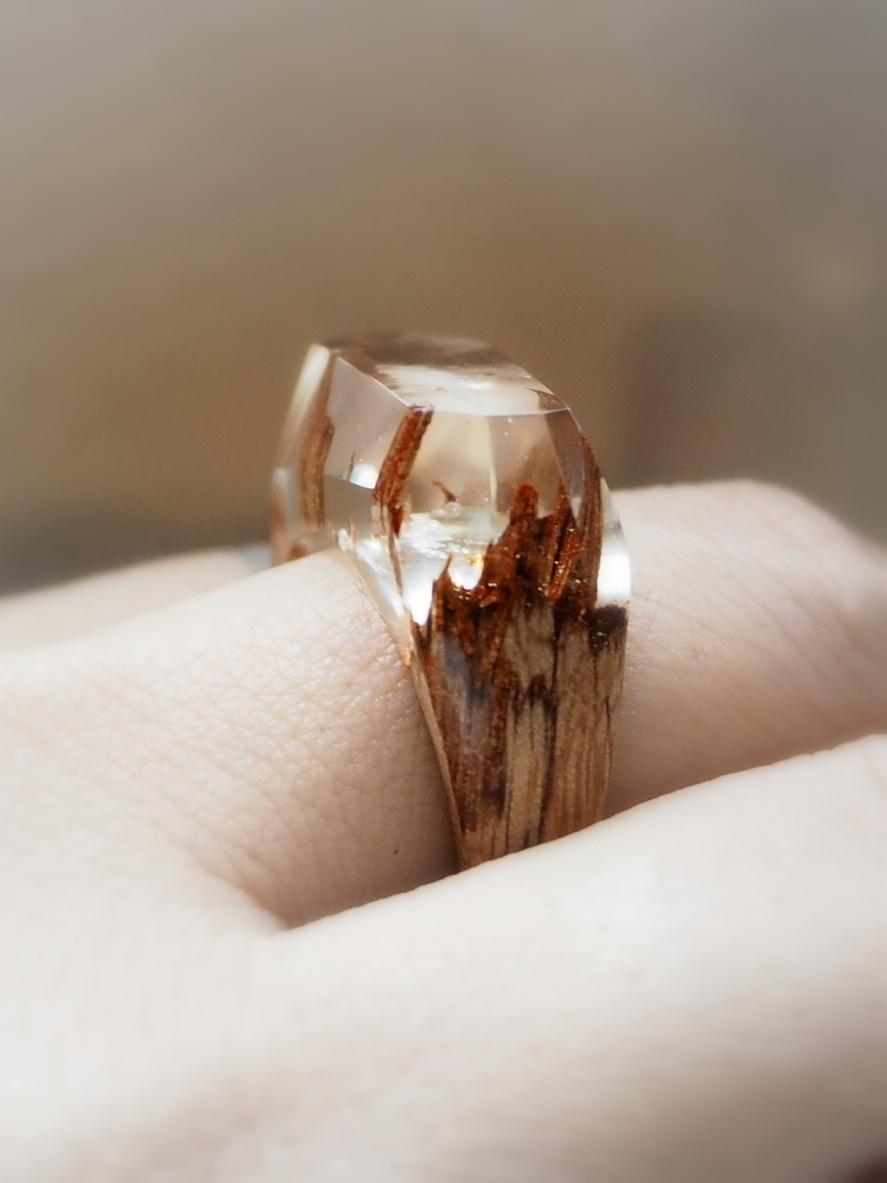 画像1: Wood  resin ring  natural spirits 凜 (1)