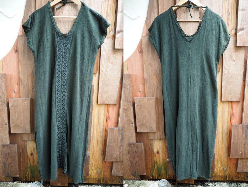 画像1: モスグリーンのみラスト1!Cotton earth 刺繍 Dress ~ukA earth~MANU★! (1)