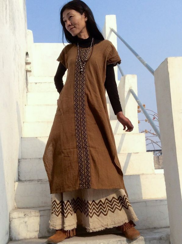 画像1: Cotton earth 刺繍 Dress ~ukA earth~MANU★! (1)