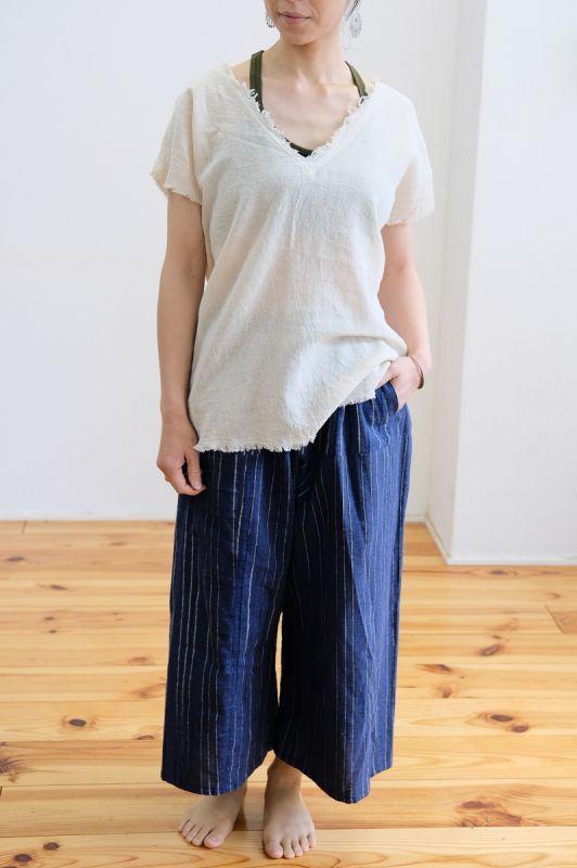 画像1: Sale 10%OFF!! *1点のみ 手紡ぎオーガニックコットン STRIPE BLUE-VIOLET Pants   Lazy naka (1)