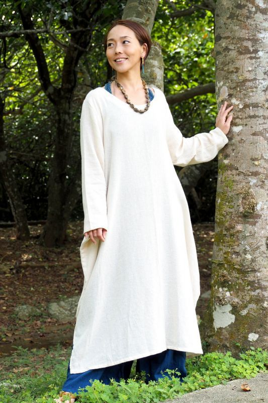 画像1: *きなりのみ!Thick cotton  Long dress 2colors (1)