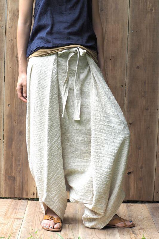 画像1: Sale 20% OFF!! natural hemp/bamboo/linen mix fabric Harem pants  ukAセレクト (1)