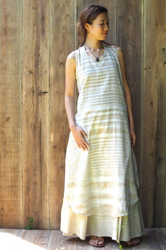 画像1: Baige whiteラスト1!Sale 20% OFF!! Sleeveless Long Dress ~ Khadi Cotton ~4 colors  Primitive tribal craft (1)