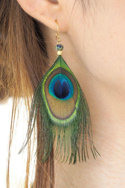 画像1: ラピスラズリのシングルフェザーピアス SUNRISE jewelry♪ (1)