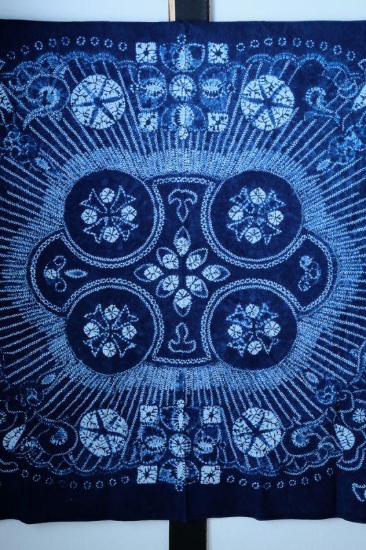 画像1: 1点もの!白族 絞り藍染布 サイズ150×180cm  Rainbow♪ (1)