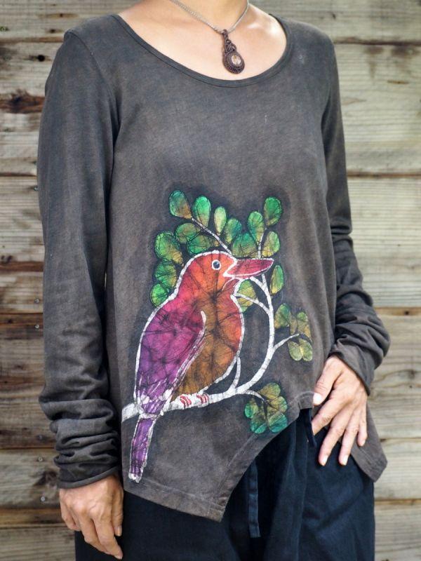 画像1: **価格変更 ukA chil-no-kiコラボ Long sleeveTシャツ  アカショウビン 柿渋 (鉄媒染) (1)