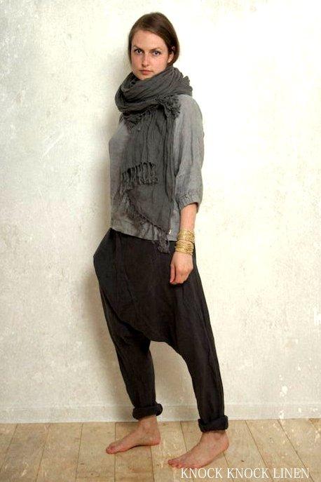 画像1: グレーLサイズラスト1!harem pants SHANTI in リトアニアンリネン&ウール 2カラー2サイズ Knock knock Linen (1)
