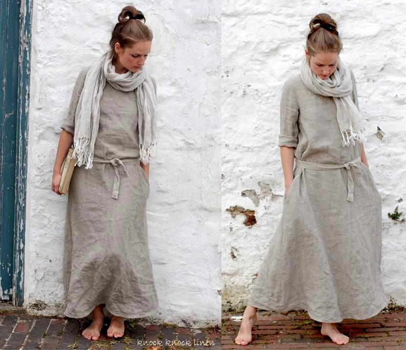 画像1: MONK linen dress リトアニアンリネン・リネンウール混紡 2素材&2サイズ Knock knock Linen (1)
