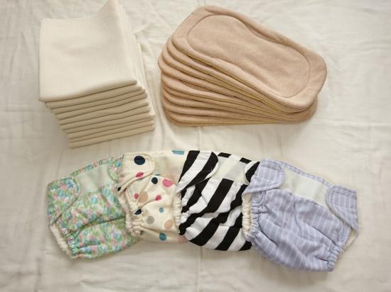 画像1: きままくらぶさんの布おむつセット(テープカバー)2種類 ホーローおまる付き (1)