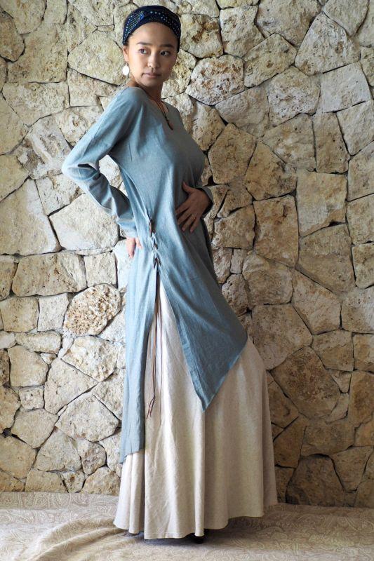 画像14: Hemp cotton Slit dress ヘンプコットンスリットドレス (14)