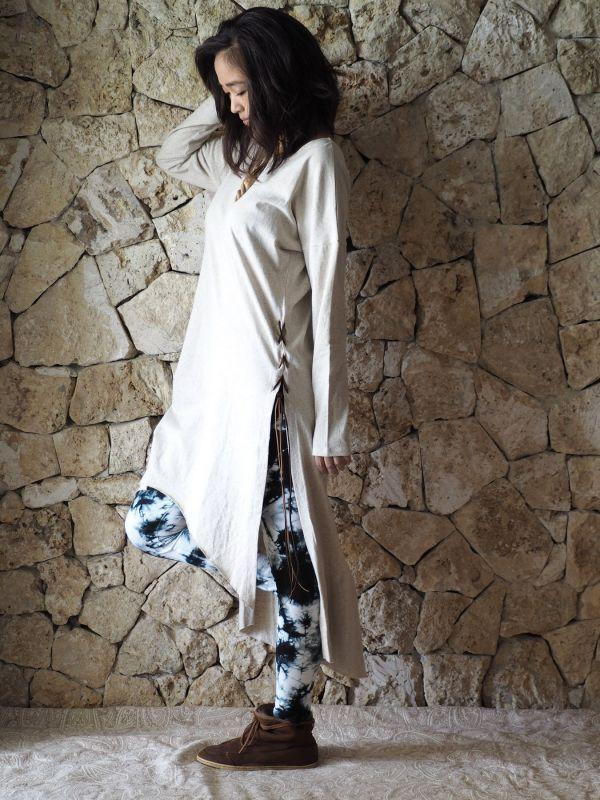 画像1: Hemp cotton Slit dress ヘンプコットンスリットドレス (1)