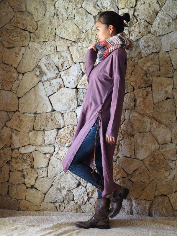 画像2: Hemp cotton Slit dress ヘンプコットンスリットドレス (2)