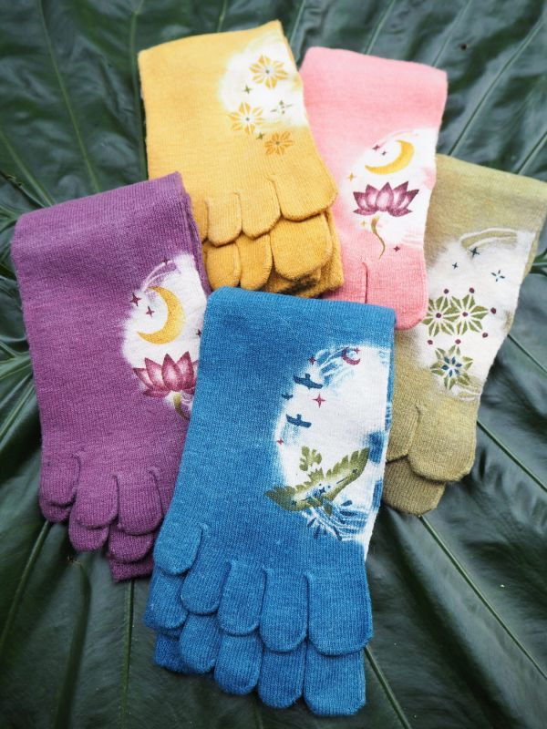 画像1: Terra   ヘンプコットン草木5本指靴下 (1)