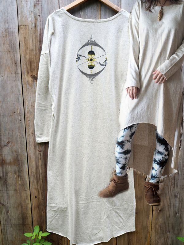 画像1: Lサイズのみラスト1!Misao spencer x ukA コラボ Hemp cotton slit dress    (1)