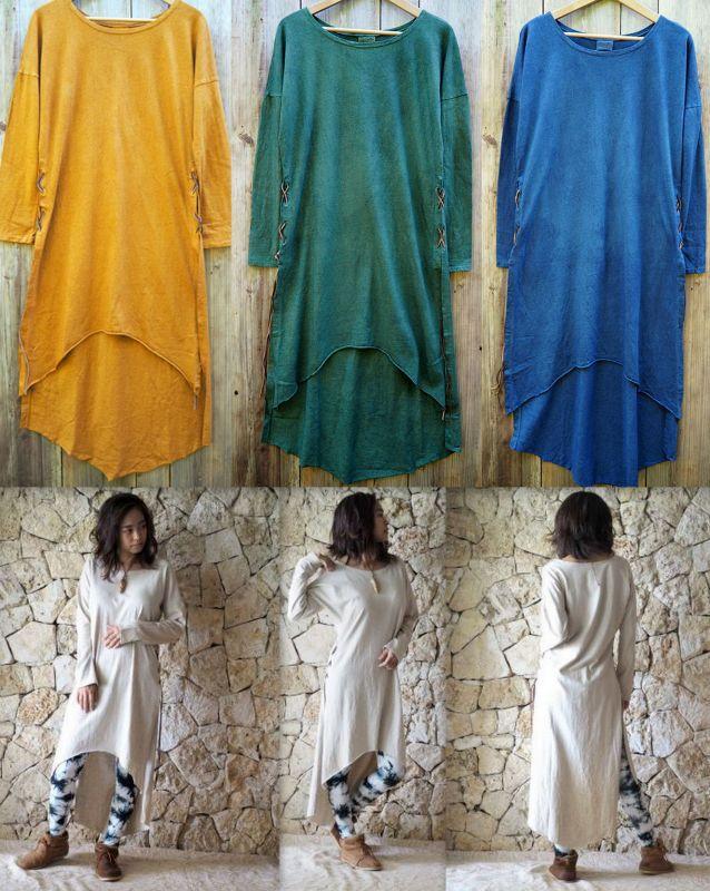 画像1: エコ染めバイオレット追加!Hemp cotton Slit dress ヘンプコットンスリットドレス (1)