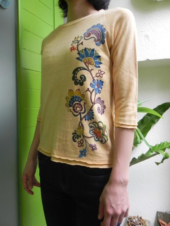 画像1: *Sale 10%OFF! あさひや ベンガラ染め七分袖Tシャツ 手染め琉球紅型 (1)