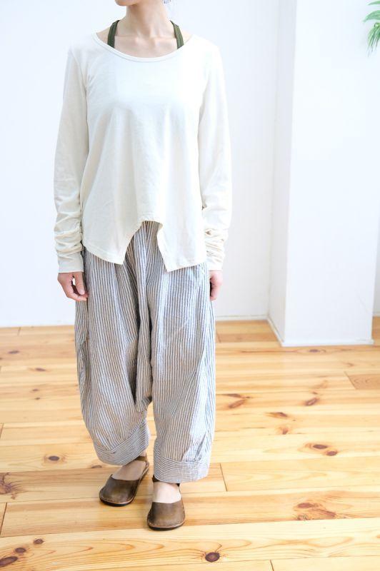 画像1: Sale 30%  OFF!! *1点のみ オーガニックコットン/リネン ORIGINAL STRIPE Pants Lazy Naka (1)