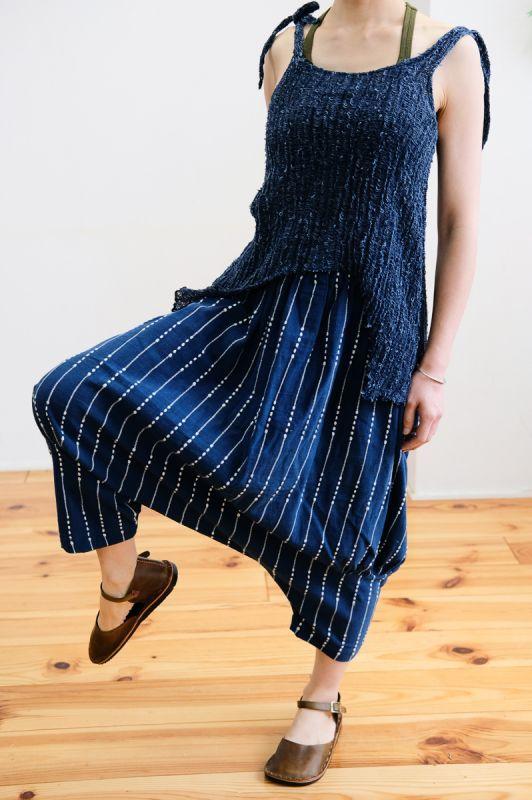 画像1: Sale 30%  OFF!! *手紡ぎオーガニックコットン stripe Navy Pants ユニセックス Lazy naka (1)