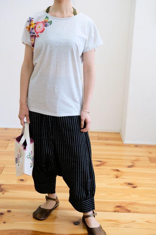 画像1: Sale 10%OFF!! *手紡ぎオーガニックコットン stripe Blk Pants ユニセックス Lazy naka (1)