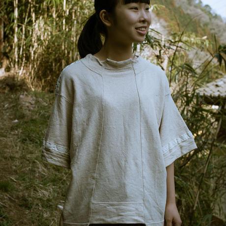 画像1: ヘンプコットン 草木染め W Spliced T-shirt / Botanic Green  [直送アイテム] (1)