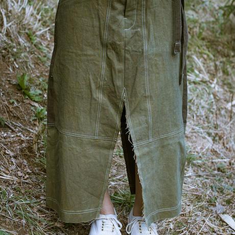 画像1: 草木染め Dungaree Slit Skirt  3color / Botanic Green  [直送アイテム] (1)