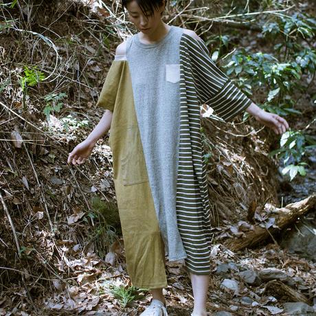 画像1: ヘンプコットン 草木染め Joined Dress / Botanic Green  [直送アイテム] (1)