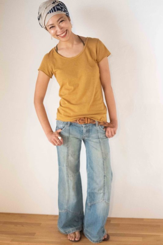 """画像1: **在庫わずか!ボタニカル染めも入荷""""ゆるやか斜めカット!Organic Cotton x Hemp ukA x TrishuL コラボTシャツ 4colors -ukA original- (1)"""