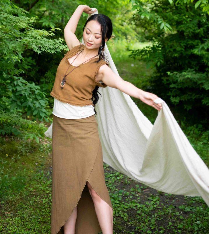 画像1: カーキ1枚のみ再入荷!巻きスカート /  ukA earth Manu 6カラー  ♪ (1)